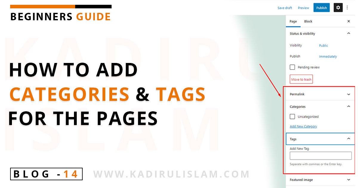 How to add categories and tags for the pages in wordpress